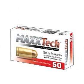 Патрони 9x18 Makarov FMJ 92gr brass Maxx Tech