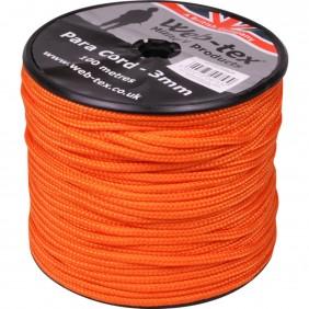 Парашутна връв 100 метра Web-Tex Paracord on Reel Neon Orange